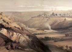 En Terre Sainte par David Roberts. 1839. Jérusalem - vue du mont des Oliviers. / На Святой Земле. Дэвид Робертс. 1839. Иерусалим. Вид с горы Елеонской