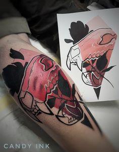 #new #school #black #rose #skull #tattoo #red #gradient