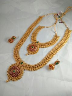 South Indian Mango Double Long Necklace Set