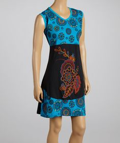 Another great find on #zulily! Blue & Black Floral Circle Sleeveless Dress #zulilyfinds