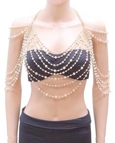 PEARL BEADS SHOULDER BODY CHAIN NECKLACE CLEOPATRA WEDDING GOLD IVORY CHUNKY  #Unbranded  @meow126