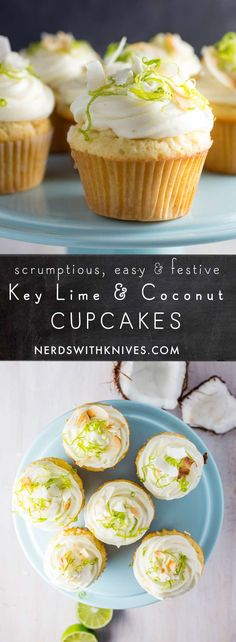 Tropical Coconut Key Lime Cupcakes - Nerds with Knives Key Lime Cupcakes, Coconut Lime Cupcakes, Mini Cupcakes, Cupcake Recipes, Cupcake Cakes, Dessert Recipes, Baking Recipes, Easter Cupcakes, Birthday Cupcakes