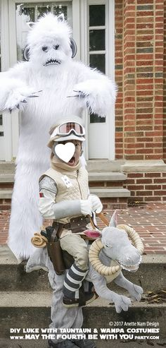 Hoth Luke, tauntaun, wampa Costumes and Cosplay / Check out lots more Star Wars Halloween costumes and cosplay ideas on our blog / #starwars #halloween #maythefourthbewithyou #maythe4thbewithyou #costume #cosplay #diy #pattern #sewing #luke #skywalker #hoth #tauntaun #wampa #geek #nerd #theempirestrikesback/ maythefourthbewithyoupartyblog.com