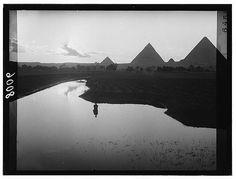 Egypt. Cairo. Evening scene of Nile overflow near pyramids