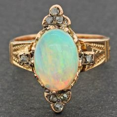 1870s Antique Victorian Estate 14k Solid Yellow Gold Rose Cut Diamond Opal Ring