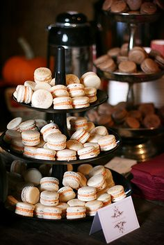 Fall flavors: pumpkin and chocolate macarons