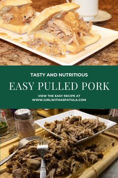 Pulled Pork - A great choice for game day or a nice comforting family dinner on the weekend. Visit for full recipe details. Pulled Pork Meat, Easy Pulled Pork, Simply Recipes, Great Recipes, Easy Recipes, Pork Gravy, Recipe Details, Pork Recipes, Healthy Dinner Recipes