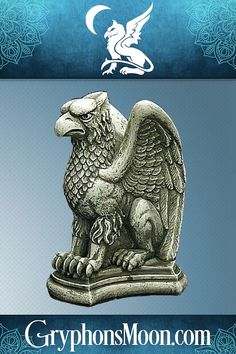 """Vigilant Gryphon Statue - Your home is your castle, and what castle would be complete without a statue of the local guardian? This magnificent gryphon looks like it came straight from an age of myths and legends. Traditionally, the gryphon is a symbol of strength and steadfast purpose. The Vigilant Gryphon Statue stands 6 1/2"""" tall. It is made of hydrocal, with an antique stone finish. This statue is meant for indoor use only. #Gryphon #Griffon #Griffin #Gargoyle #Statue Symbols Of Strength, Great Father's Day Gifts, Pagan, Fathers Day Gifts, Lion Sculpture, Things To Come, Wealth, Statue, Handsome"""