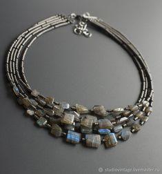 Купить Колье Patina Grey - серый, хаки, лабрадорит, дизайнерское украшение, колье с лабрадоритом