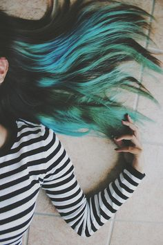 long straight hair in black, blue and green colors More at www.hairchalk.co #haircolor #hairdye #hairchalk