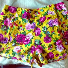 NWOT F21 Floral high waisted shorts Gorgeous design. Soft fabric. Bought at Forever 21. Never worn. Forever 21 Shorts