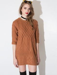 Brown Cable Knit Dress