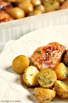 Honey Baked Chicken and Potatoes   cravingsofalunatic.com   Easy to make, this Baked Chicken is glazed with honey, and baked with baby potatoes. Perfect one pan meal for the whole family!