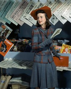 """""""Dorothy Shapard, student at Vassar, in a career classic blue grey wool dress with a plaid jacket in blue, grey, red and black and a red hat, September 1941."""" #vintage #fashion #1940s #hat"""
