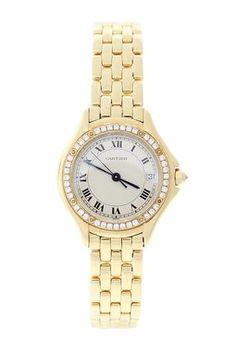 Vintage Cartier Women's 26mm 18K Yellow Gold Diamond Cougar Quartz Watch