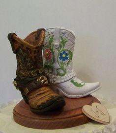 boot wedding cake topper