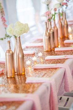 Pinned by Afloral.com from http://indybride2b.com/Blog/blogpost/n/2014-wedding-trends-add-sparkle-to-your-indy-wedding ~Find the perfect silk flowers to fill your DIY bronze bottles at Afloral.com
