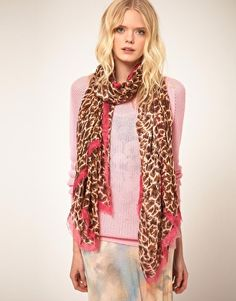 Paul Smith Leopard Print Large Scarf With Pink Edging  $483
