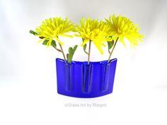 Curved Vase Fused Glass Pocket Vase Divided by GlassArtByMargot