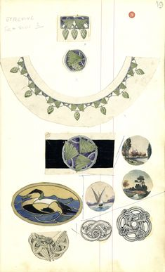 Gustav Gaudernack drawings in ink, pencil and watercolour. Neclace pins and belt buckle in gilt silver and enamel with stylized pine motif. Three silver brooches in dragon style, anmale eider duck, stylized and three scetches for brooches/boxlids with naturalistic scenes. Tegning (skissebok) @ DigitaltMuseum.no