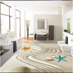 Simple Style Decorative Seashells and Starfishes on the Sand Pattern 3D Floor Murals