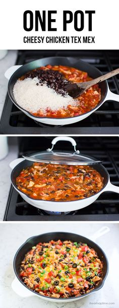 One pot cheesy chicken Tex Mex - it's fast delicious and makes a great freezer meal too! Can be enjoyed with chips, in tacos, burritos, enchiladas & burrito bowls. This one pot Tex Mex dish Mexican Dishes, Mexican Food Recipes, Real Food Recipes, Dinner Recipes, Cooking Recipes, Yummy Food, Yummy Recipes, Healthy Recipes, Enchiladas