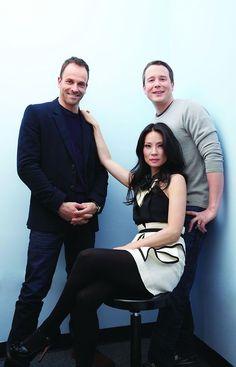 "From left: Jonny Lee Miller (Sherlock Holmes), Lucy Liu (Joan Watson) and show creator Rob Doherty, ""Elementary"""