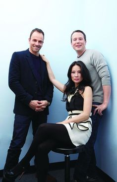 "From left: Jonny Lee Miller (Sherlock Holmes), Lucy Liu (Joan Watson) and show creator Rob Doherty, ""Elementary"""