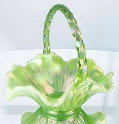 """Fenton Art Glass. 8½"""" ribbed basket in Key Lime Opalescent.  So lovely"""