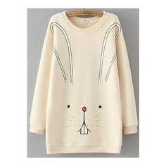SheIn(sheinside) Beige Round Neck Cartoon Rabbit Print Sweatshirt (£14) ❤ liked on Polyvore featuring tops, hoodies, sweatshirts, beige, pink top, long sleeve sweatshirt, print pullover, beige top and patterned sweatshirts