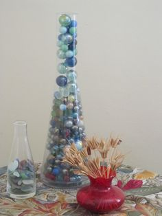 Another use of a glass vase or bottle- Full of marbles