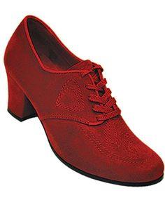 Aris Allen Red 1930s Velvet Oxford with Suede Sole