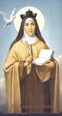 "St. Teresa of Avila, wearing her ""Doctor's"" biretta."