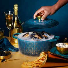 Le Creuset Soiree Signature Deep Teal With Gold Deco Cast Iron Round Casserole Le Creuset, Creme Fraiche, Mayonnaise, Recipe Email, Kitchen Shop, Frying Oil, Cast Iron Cooking, Deep Teal, Vanilla Cream
