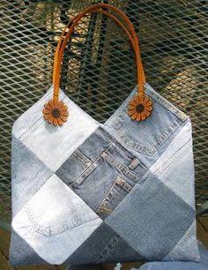 Denim purse made from old jeans Denim Purse, Tote Purse, Tote Bags, Jean Purses, Purses And Bags, Denim Handbags, Denim Crafts, Recycled Denim, Purse Patterns