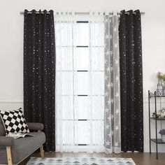 MIX & MATCH CURTAINS Add depth and texture to your windows with the versatile Mix & Match set which includes, two Big Star net lace curtains and two Star Foil Print Blackout curtains. Layer these deli