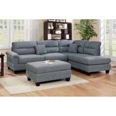 Linen Upholstery Reversible Sectional with Ottoman (Grey), Gray Linen Upholstery, Sectional, Love Seat, Upholstery, Wood Legs, Sofa And Loveseat Set, Online Furniture Shopping, Ottoman, Furniture