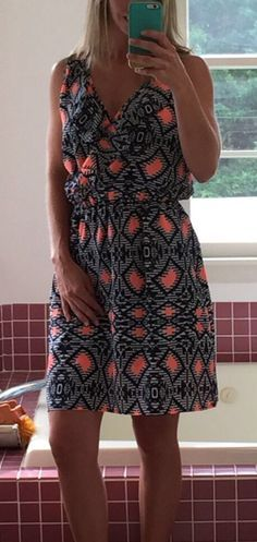 Stitch Fix Collective Concepts Marci Dress. This is a little big but I kept it anyway. Cute navy, white, and coral pattern, open straps on the shoulders.