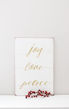 Celebrate the holidays and add to your holiday decor with this simple wood sign. Joy-Love-Peace THIS SIGN: *Measures approximately 12 x 18 *Comes with
