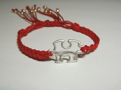 Autism Awareness Bracelet in Red Cord by MyleneV on Etsy, $10.00