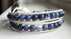 Sodalite double wrap bracelet with pearl leather by CCreech Studio.