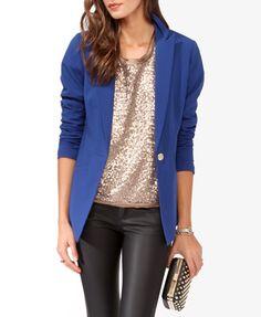 Blue blazer, leather pants, embellished top Longline Jacket | FOREVER21 - 2005757312