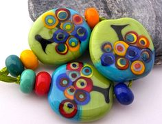 Art Inspiration Handmade Lampwork Bead Set 9 by AnnesGlassJewels Polymer Beads, Lampwork Beads, Melting Glass, Beaded Jewelry, Jewellery, Wire Weaving, Glass Necklace, Stone Art, Round Beads