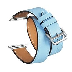 For Apple Watch Band Series 1 Series 2TOROTOP Blue Genuine Leather Double Tour StrapBracelet Replacement Wristband Smart Watch Band SM with Adapter Clasp for Apple Watch 38mm  Fits 557 Wrist -- Check this awesome product by going to the link at the image.