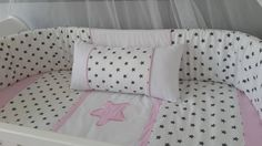 Star themed baby girl linen set, made to fit a large cot mattress of 1.3m X 66cm. The set includes the quilt, a cot bumper, a fitted sheet and mini scatter cushion along with inners.