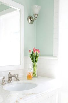 Bathroom Decor green Bathroom with clean bright colors subway tile large bathroom mirror Green Bathroom Colors, Light Green Bathrooms, Mint Bathroom, Bathroom Paint Colors, Pastel Bathroom, Boho Bathroom, Bathroom Wall, Chevron Bathroom, Bungalow Bathroom