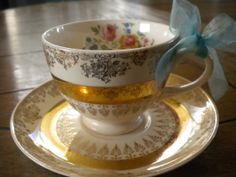 Gold Filigree Flowers Tea Cup & Saucer Set  by KarenMaryButterfly, $14.95
