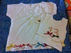 Camisetas combinadas com aplicação em Patch apliquê para a virada do ano
