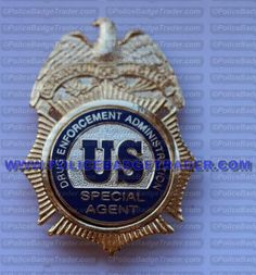 DEA Special agent badge Rear wallet attachment. Available from www.policebadgetrader.com