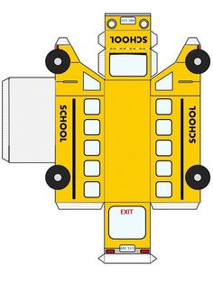 Back to School FREE Printable fold and glue school bus School Bus Crafts, School Bus Party, School Bus Driver, Back To School Party, School Parties, Back To School Gifts For Teachers, School Kids, Paper Model Car, Paper Models